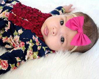 Hot / Magenta Pink Nylon bow, headband set 1 size fits all, comfy baby newborn girls hair, bow Magenta