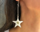 Sterling Star Earrings, Long Drop Earrings With Peridot Gemstone, August Birthstone For Birthday Gift, Handcrafted Jewerly Gift.