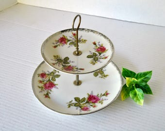 Vintage 2 Tier Serving Tray Stand, Tidbit Tray Plate, Dessert Stand, Two Tiered Serving Tray, Jewelry Tray, Soap Dish Pink Green White