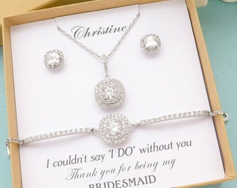 SALE Personalized Bridesmaid Gift, Bridesmaid Jewelry Set, Bridesmaid Earrings Necklace Bracelet Set, Princess Cut Stud Earrings, Wedding Je