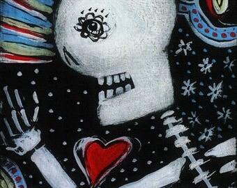 Skeleton Heart Postcard style print