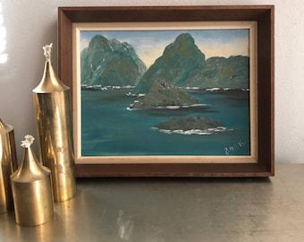 vintage ocean mountain painting framed teal blues