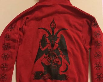 PENTAGRAM Red Hoodie with Baphomet back + Sleeve Prints  Occult Witchcraft Satanism horror Satan Evil satanic witch Hooded Sweatshirt