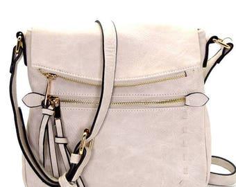 Stone Faux Leather Crossbody Bag