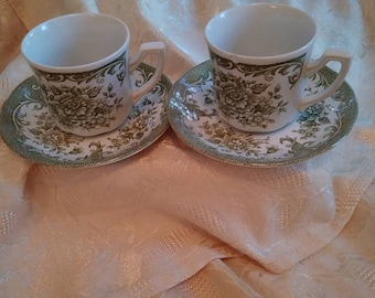 Vintage/J & G Meakin England/ Royal Staffordshire Avondale Ironstone/Tea Cups/Saucers/Tea Garden Party/