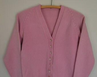 Vintage Hand Knit Bubblegum Pink Cardigan