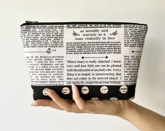 Jane Austen Zipper Pouch, Black and White Zipper Pouch, Purse Organizer, Makeup Bag, Padded Zipper Pouch