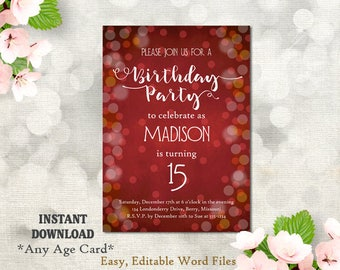 Printable Birthday Party Invitation Template, 15th Birthday, 16th Birthday, Bling Bokeh Blue Chalkboard DIY Script Birthday Invites Any Age
