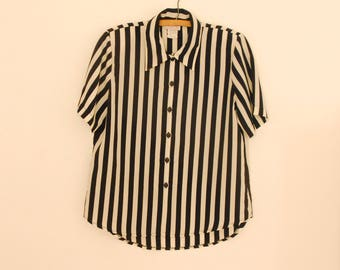 Black and White Striped Shirt - Late 80s/ Early 90s