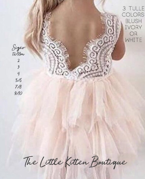 Pink Flower Girl Dress, Blush Flower Girl Dress, Flower Girl Dress, Lace Flower Girl Dress, White Flower Girl Dress, Ivory Flower Girl Dress