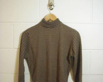 60s / 70s Mock Neck Knit Sweater Black and Brown // Small Petite