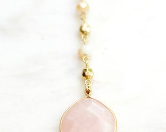 Baby Pink Rose Quartz Teardrop Gold Bezel Pendant. Pendant and Beaded Layering Necklace. Rose Pink Pendant Necklace. Stone Necklace for her