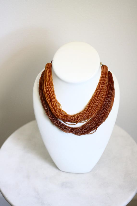 1960s ombre necklace // 1960s beaded necklace // vintage necklace