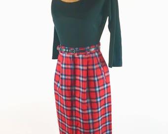 Pendleton Red Plaid Wool Skirt - Vintage 80s Pendleton Pencil Skirt - 100% Virgin Wool - Mid Calf + Pockets