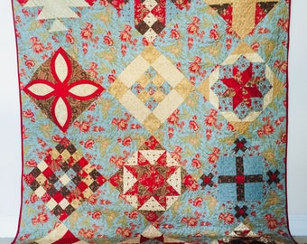 Sampler Quilt Red and Teal