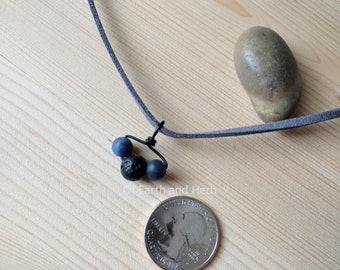 Sodalite and Basalt (Lava Stone) Crystal Essential Oil Diffusing Choker Necklace