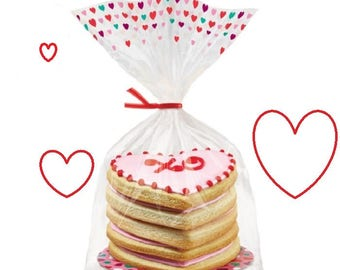 Cello treat bags etsy 600 metallic red twist ties bakery cello treat party favor bags candy bag twist ties bows negle Images