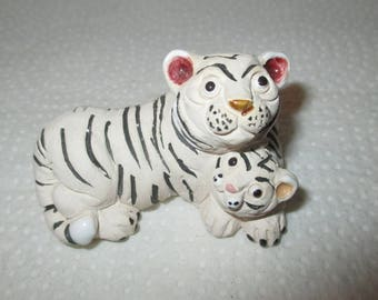 1980 RARE Collectible Vintage White TIGER & Cub Miniature Figurine by LEPS of Peru - Handcrafted Mom and Child Cat Pottery and Enamel Statue