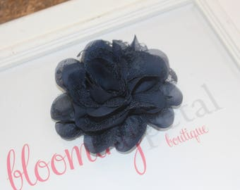 Navy Lace Chiffon Flower Clip