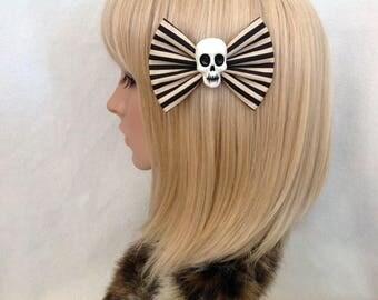 Black and cream striped skull hair bow clip rockabilly psychobilly gothic Lolita rock punk pin up girl stripe skeleton fabric girls women