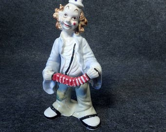 Vintage Ceramic Clown Figurine With A Squeeze Box - Happy Clown - Knick Knack