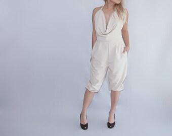 Ivory beige cowl halter jumpsuit / pantsuit / romper / harem pants