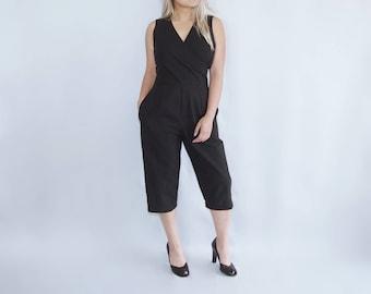 Black cotton romper / jumpsuit / pantsuit / capris / jumpsuit