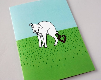 Funny Birthday Card, Birthday Card, Dog Birthday, For Boyfriend, For Him, Funny Greeting Card, Inappropriate - White Dog says I LOVE YOU
