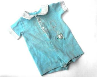 1950s Carter's Baby Blue Boy Romper Vintage Button Up Collared Onesie Jumper with Embroided Balloon Beetle Bug Polka Dot Collar Cootie Cutie