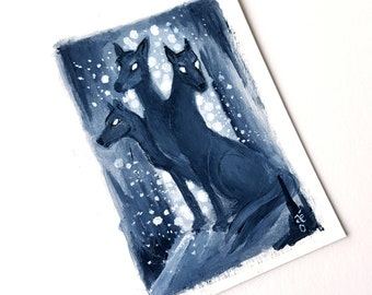Hound of Hades -  Miniature Acrylic Painting by Amy E Owers