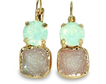 Druzy Earrings, Mint Drop Earrings, Dangle Gemstones  Earrings, Crystal Earrings, Gold Earrings, Druzy Gold Earrings, Christmas Gift.