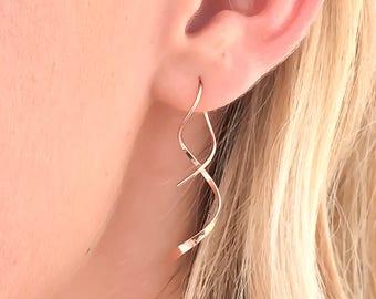 Simple Spiral Earrings- Rose Gold-filled, Rose Gold Spiral Earrings, Rose Gold Dangle Earrings, Minimalist Gold Earring, Corkscrew Earring