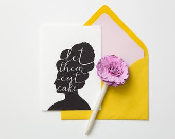 Let Them Eat Cake Greeting Card - Instant Download Printable Birthday Card, Bridal Shower Card