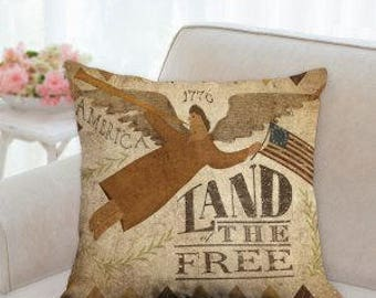 4th of July Rustic Country Designer Pillow (Land of the Free)