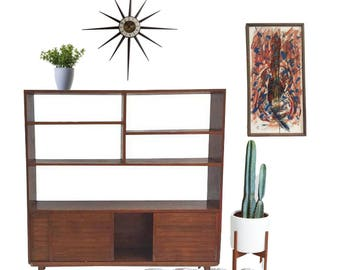 mid century modern bookshelf wood etagere wall unit room divider sliding door storage mid century bookcase