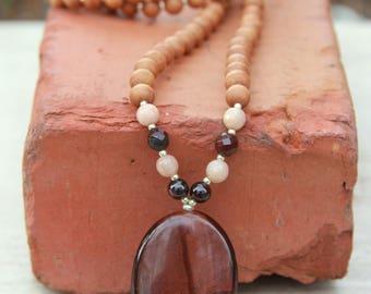 Red Tiger's Eye Sandalwood Mala - Mediation Inspired Yoga Beads BOHO chic / mala beads