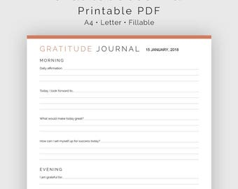 Gratitude Journal - Fillable - Printable PDF - Journaling, New Year Resolution -  Home Management - Instant Download