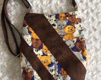 Cross body bag,cross body bag for women,small cross body bag,cat lovers gift,gift for her,swoon ramona,hipster,