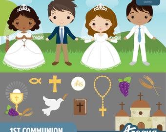 1st Communion Boys & Girls Clipart Set - Instant Download - PNG Files.