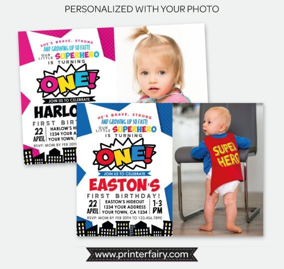 superhero first birthday invitation with picture any age