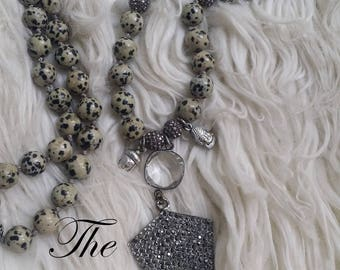 The Vintage Junkie...Long, Layering, Beaded Stone Necklace...Crystal Pave Arrowhead Pendant... Hand Knotted...Multi Layer Necklace