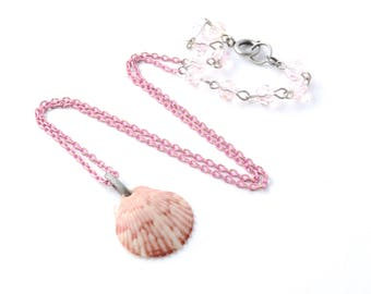 Rhode Island Pink and White Scallop Shell with a Heart Hidden Inside that says LOVE on a Pink Chain, with an Antique Silver Spring Ring, 20""