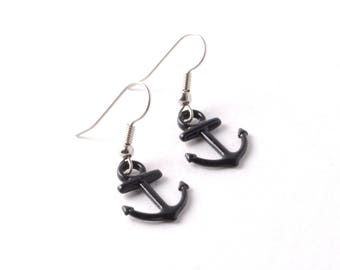 Small Black Enameled Anchor Charm Earrings on Your Choice of Hypoallergenic Surgical Stainless Steel or 925 Sterling Silver French Ear Wires