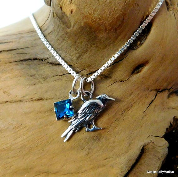 Sterling silver Raven necklace, Southwestern  necklace, crow trickster, crow necklace, birthstone necklace, crow totem, Raven totem, crow