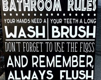 wood sign, Bathroom Rules, Subway Art, Wash your hands, brush your teeth, flush the toilet, ready to ship