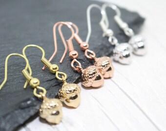 Acorn Earrings, Rose Gold Earrings, Autumn Jewellery, Autumn Colours, Fall Jewellery, Fall Colours, Rose Gold Acorn Jewelry, Fall Birthday