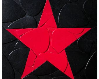 Red Star Guitar Picks on Canvas