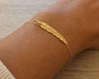 Gold Feather Bracelet, Thin Gold Bracelet, Dainty Bracelet, Minimalist Bracelet, Gold Bracelet