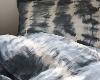 Tie Dye Cotton Bedding set, Queen Shibori bed set, Duvet Cover 59x78 and Pillowcase 20x24, Duvet Cover 150x200, pillowcase 50x60