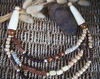 Ethnic necklace wood beads, seeds